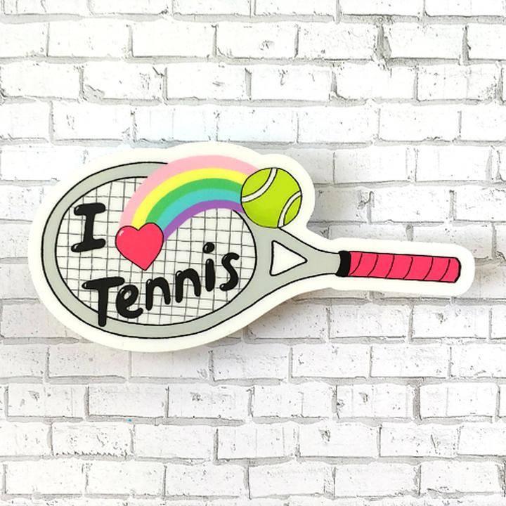 Racquet Smash Vinyl Sticker I Love Tennis