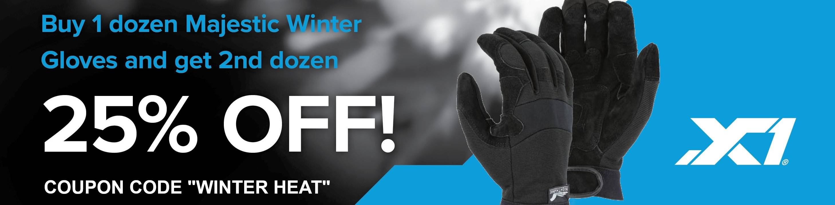 Buy 1 Dozen Winter Lined Gloves from Majestic, Get the Second Dozen 25% Off