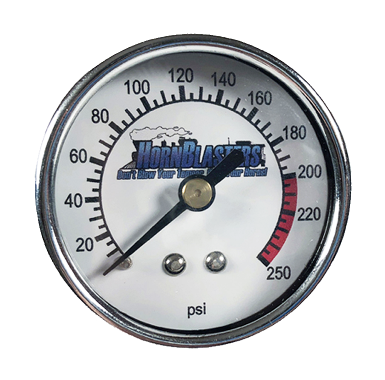 HornBlasters 250 PSI Single Needle Air Pressure Gauge