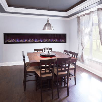 Napoleon Alluravision 100 Deep electric fireplace in dining room