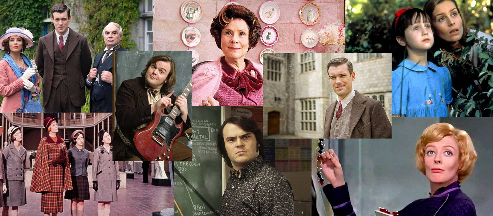 A collection of images depicting famous teachers from films and TV.