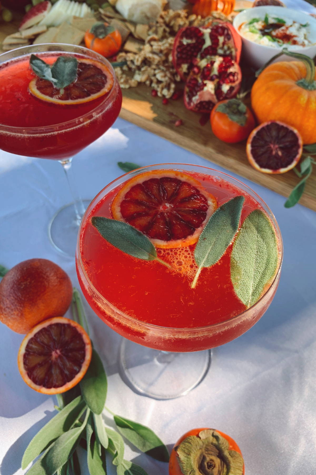 Blood orange mocktail in a coupe glass, surrounded by blood orange slices and pomegranate.