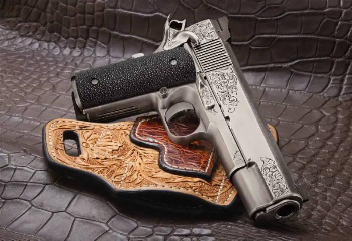 Stingray leather gun grip for
