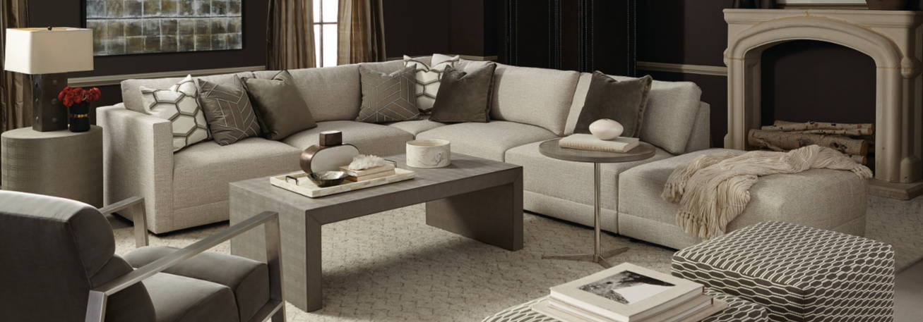 Bernhardt Orion sectional in contemporary living room.