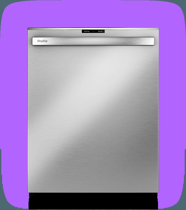 Stainless Steel finish, GE Profile Ultrafresh Dishwasher - door closed, shimmering.