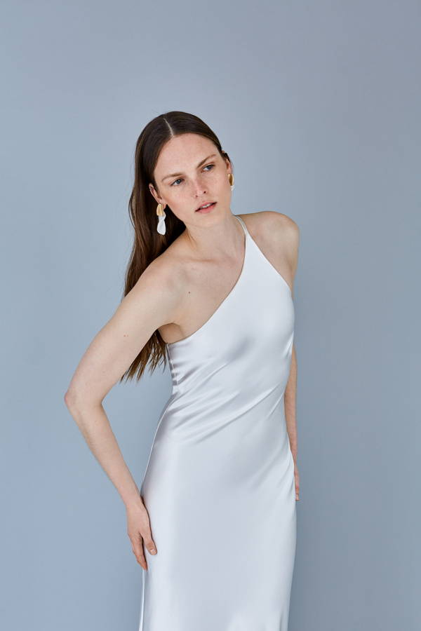 Galvan London Silk One Shoulder Slip Bridal White Dress