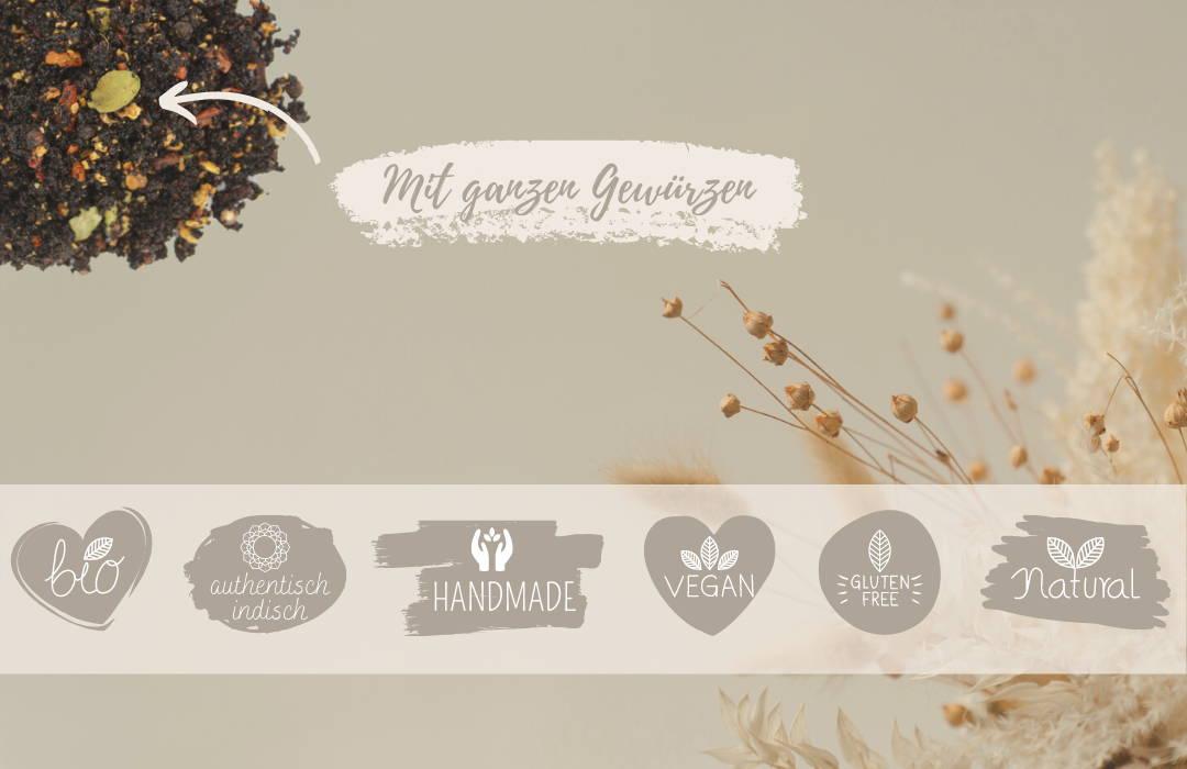 Masala Chai mit ganzen Gewürzen: bio, authentisch indisch, handmade, vegan, glutenfrei, natur