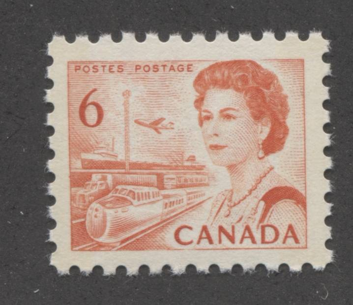 The 6c orange transportation stamp from the 1967-1973 Centennial Issue of Canada