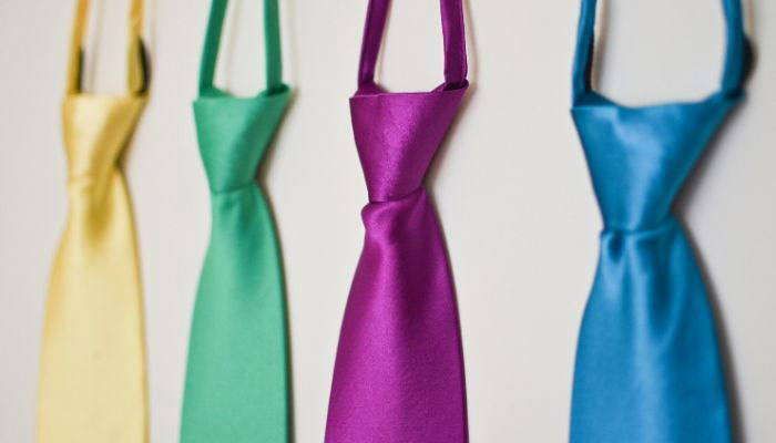 Colorful solid zipper ties hanging