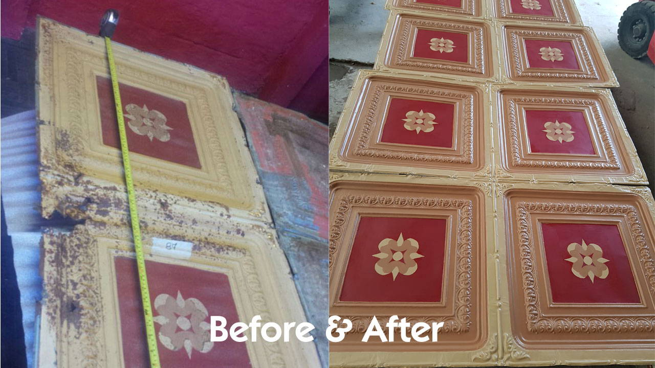 Rusted Original 2x4 Metal Tile VS Process of Restoring and Matching of Original Tins with Replicated Panels