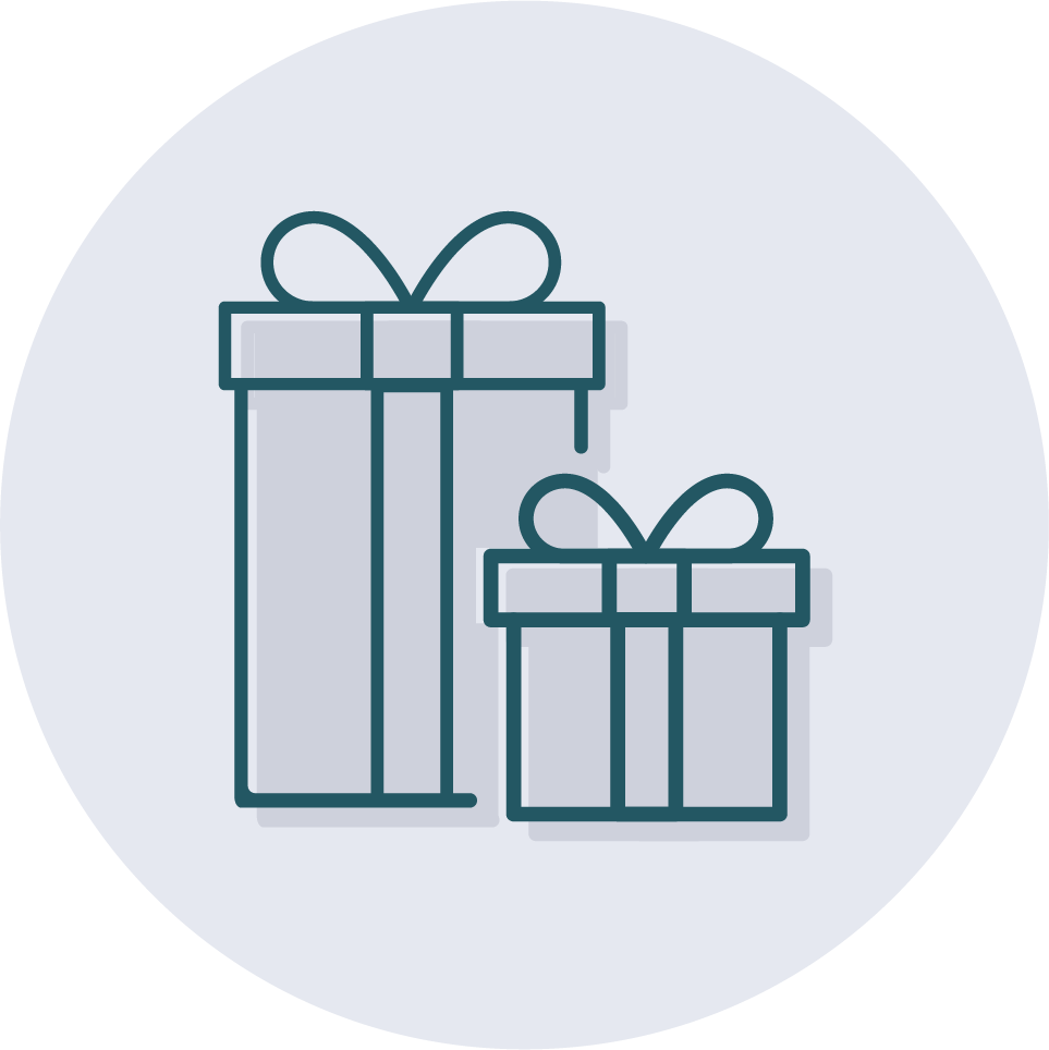 An icon of multiple gifts for an event.