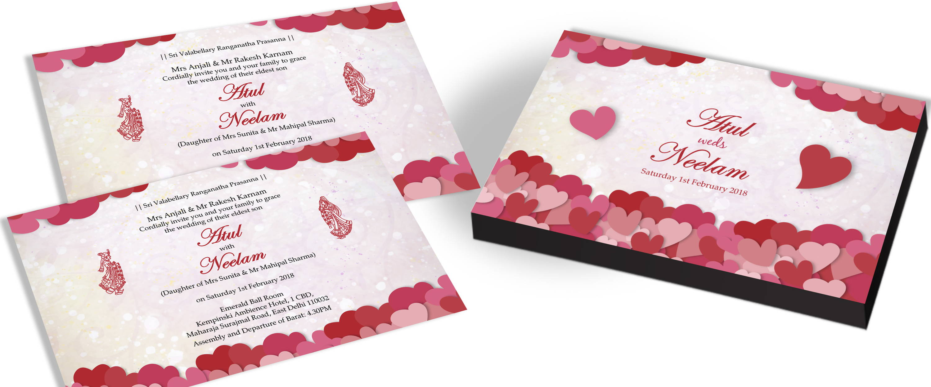 Indian Marriage Invites with Heart Theme
