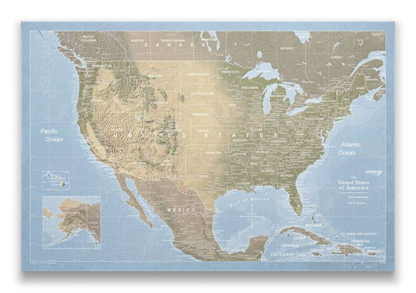 United States Map Pin Board Natural Earth