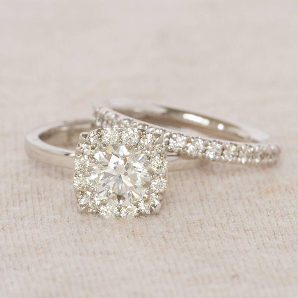Halo Engagement Ring and Wedding Band
