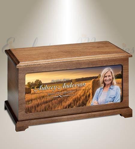 Wheat Fields Photo Memorial Urn