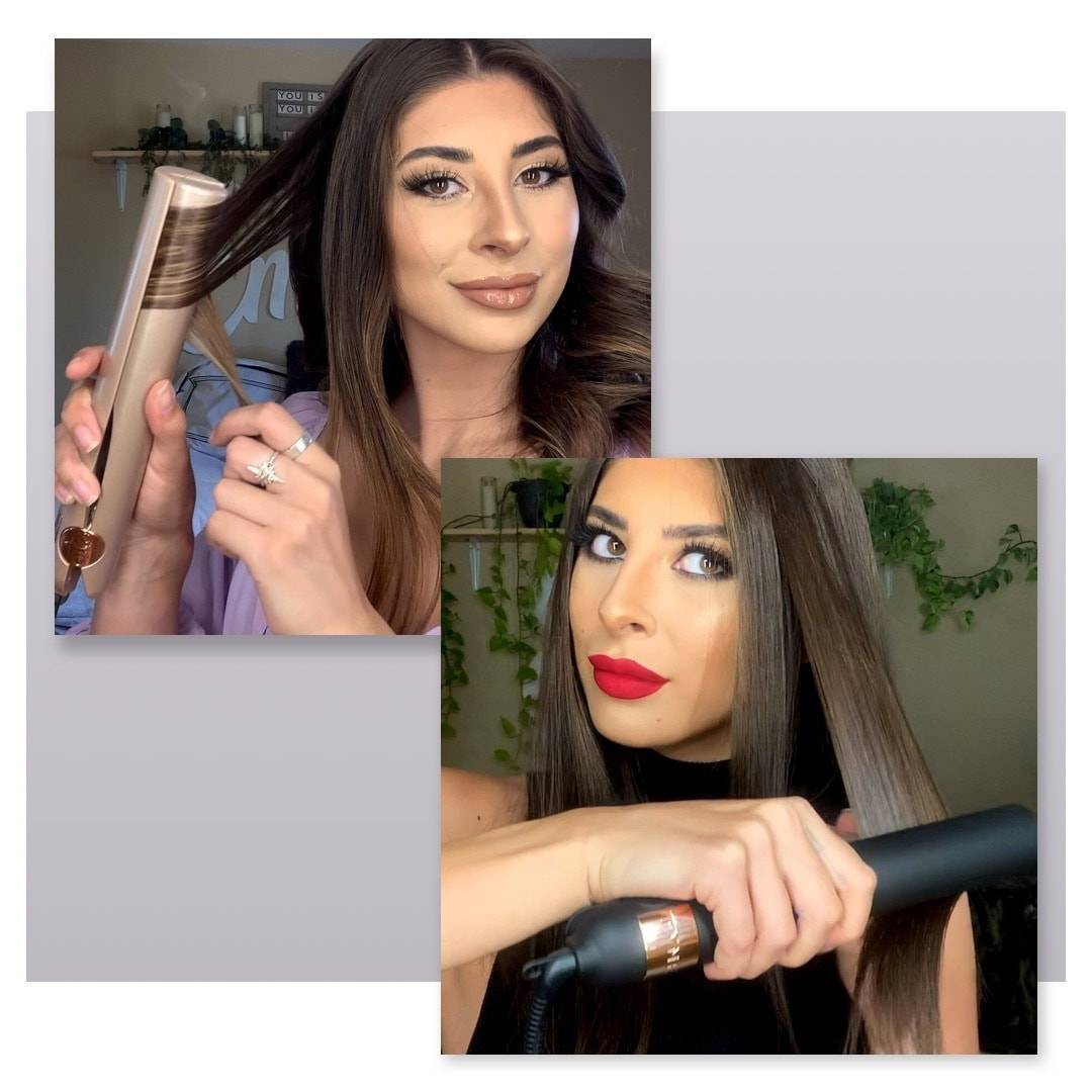Two pictures side by side showing a women curling and straightening with the TYME Iron Pro Obsidian and original TYME Iron Pro