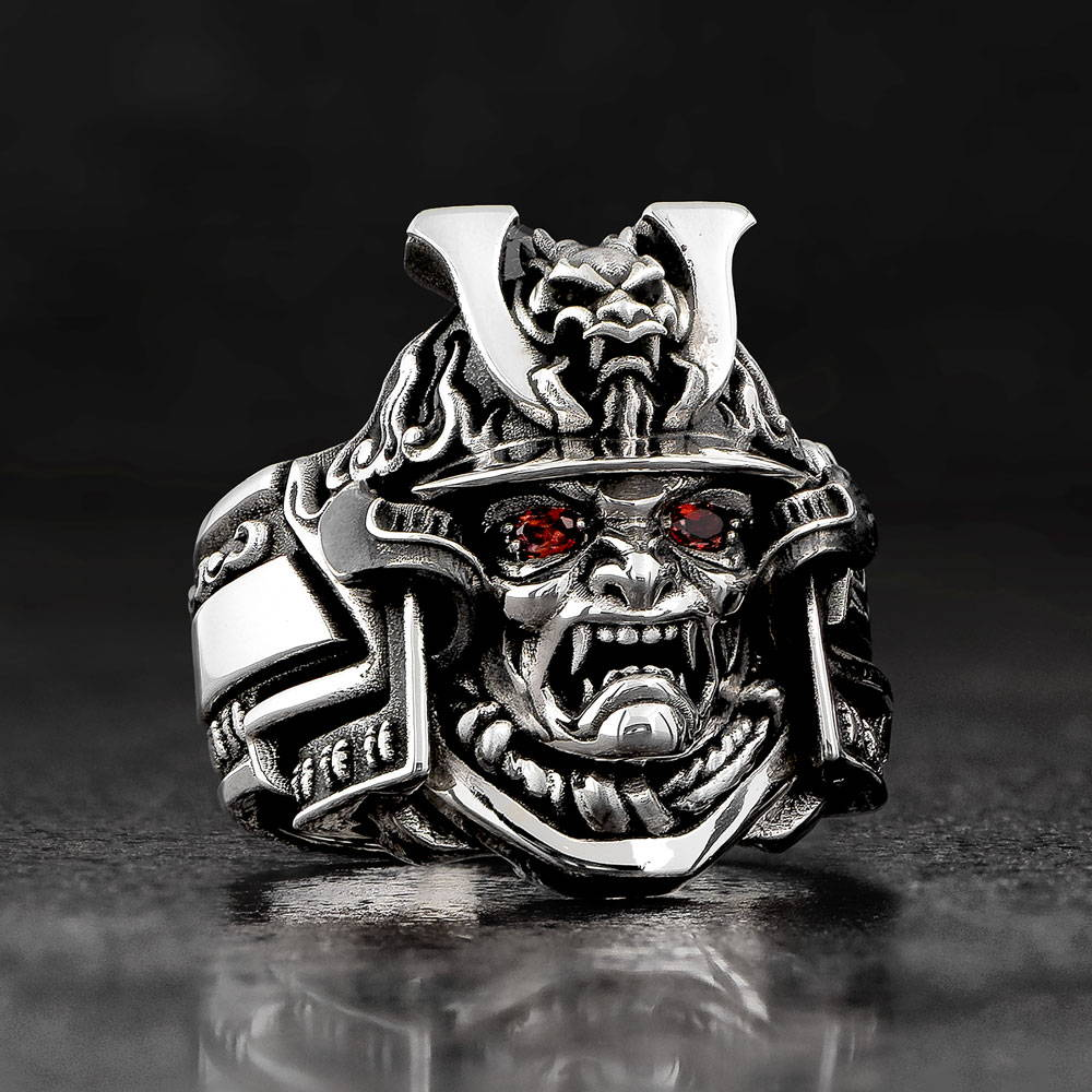 Bushido Japanese Samurai Ring with Dragon Helmet and Red Garnet Eyes by NightRider Jewelry