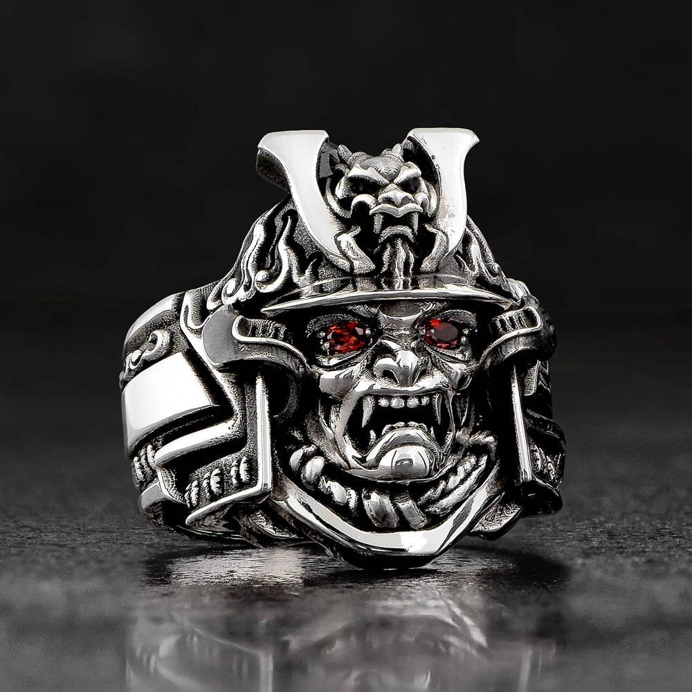 Bushido Japanese Samurai Ring with Dragon Helmet and Red Garnet Eyes by NightRider Jewelry