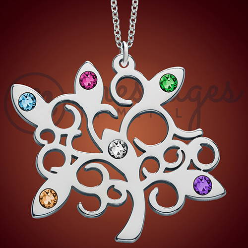 Silver Family Tree Birthstone Name Pendant