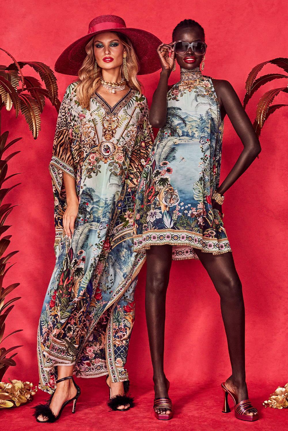 CAMILLA If These Walls Could Talk | Blue jungle printed dress and kaftan
