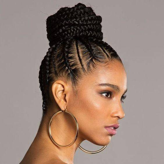 cornrow bun hairstyle