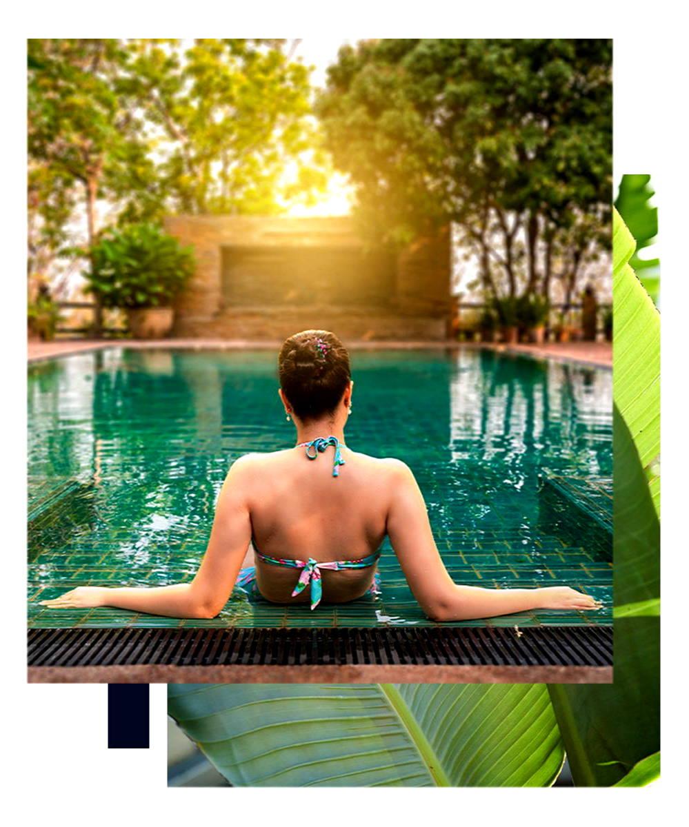 lady sitting around pool