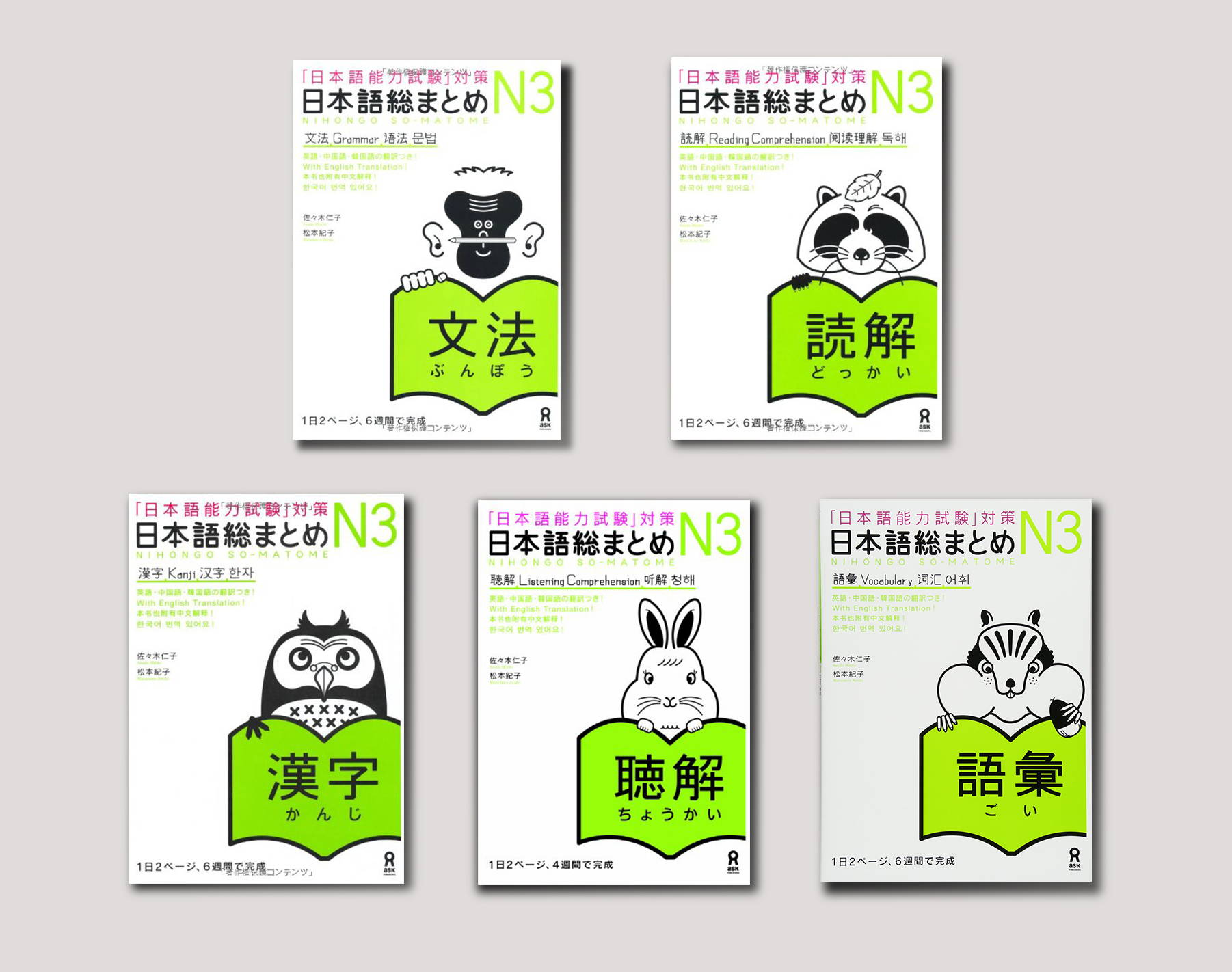 A collection of Nihongo So Matome books.