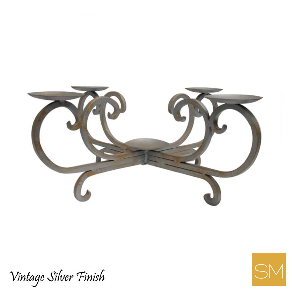 Wrought iron candle holder with vintage silver finish
