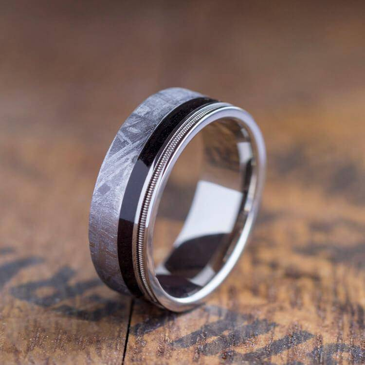 Meteorite Ring with Guitar String