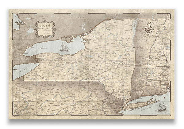 New York Push pin travel map rustic vintage