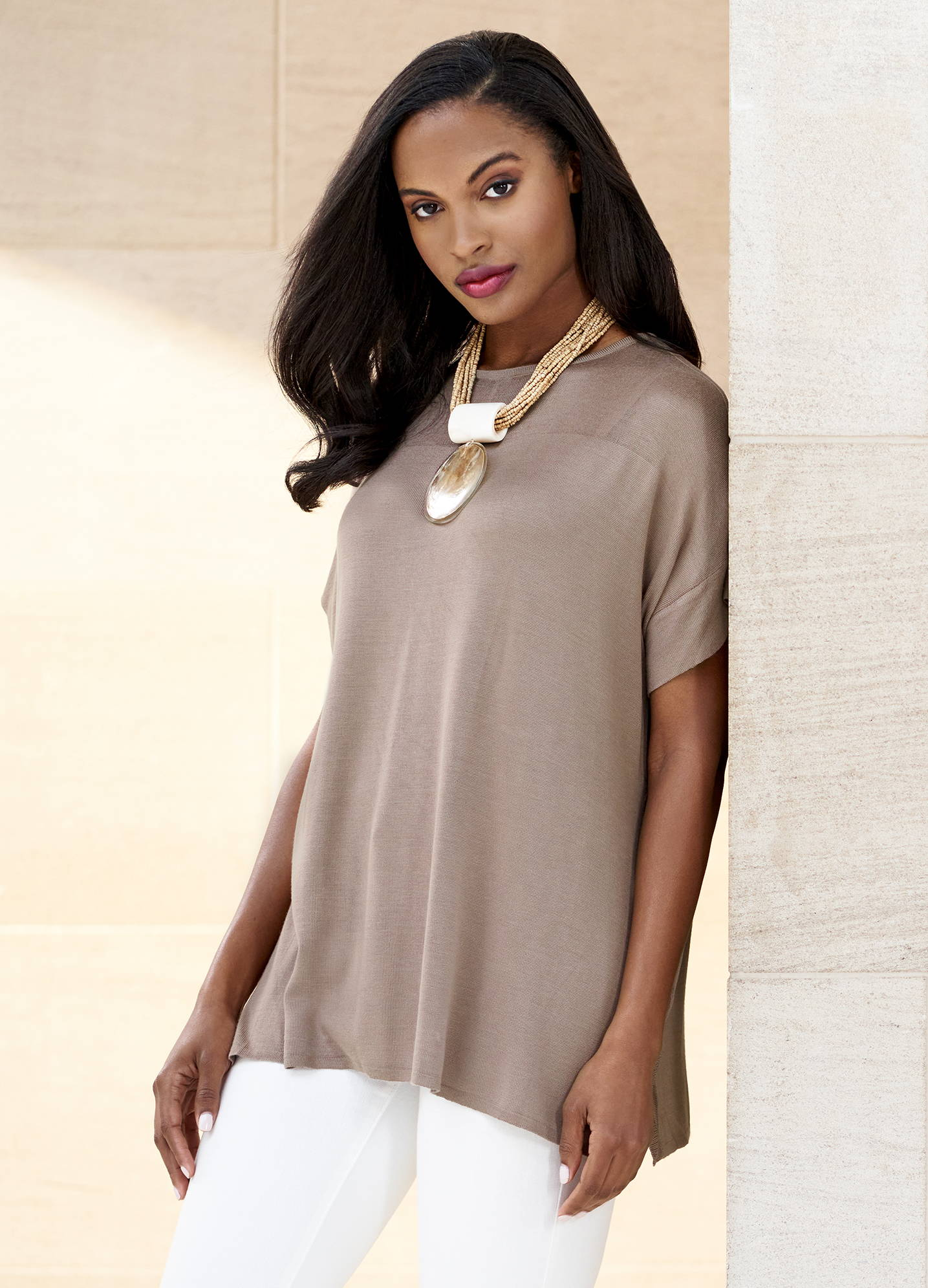 Sheer Yoke Cap Sleeve Knit Tunic Paired with White Pants – Misook