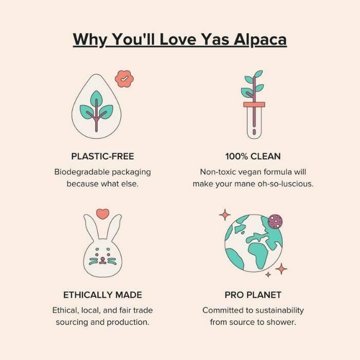 Yas Alpaca product benefits plastic-free, 100% natural, cruelty-free, sustainable shampoo bar