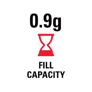 0.9 grams fill capacity