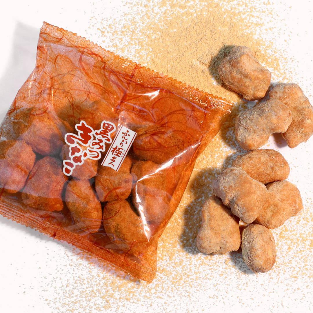 Funwari Meijin Mochi Puffs: Black Syrup Kinako
