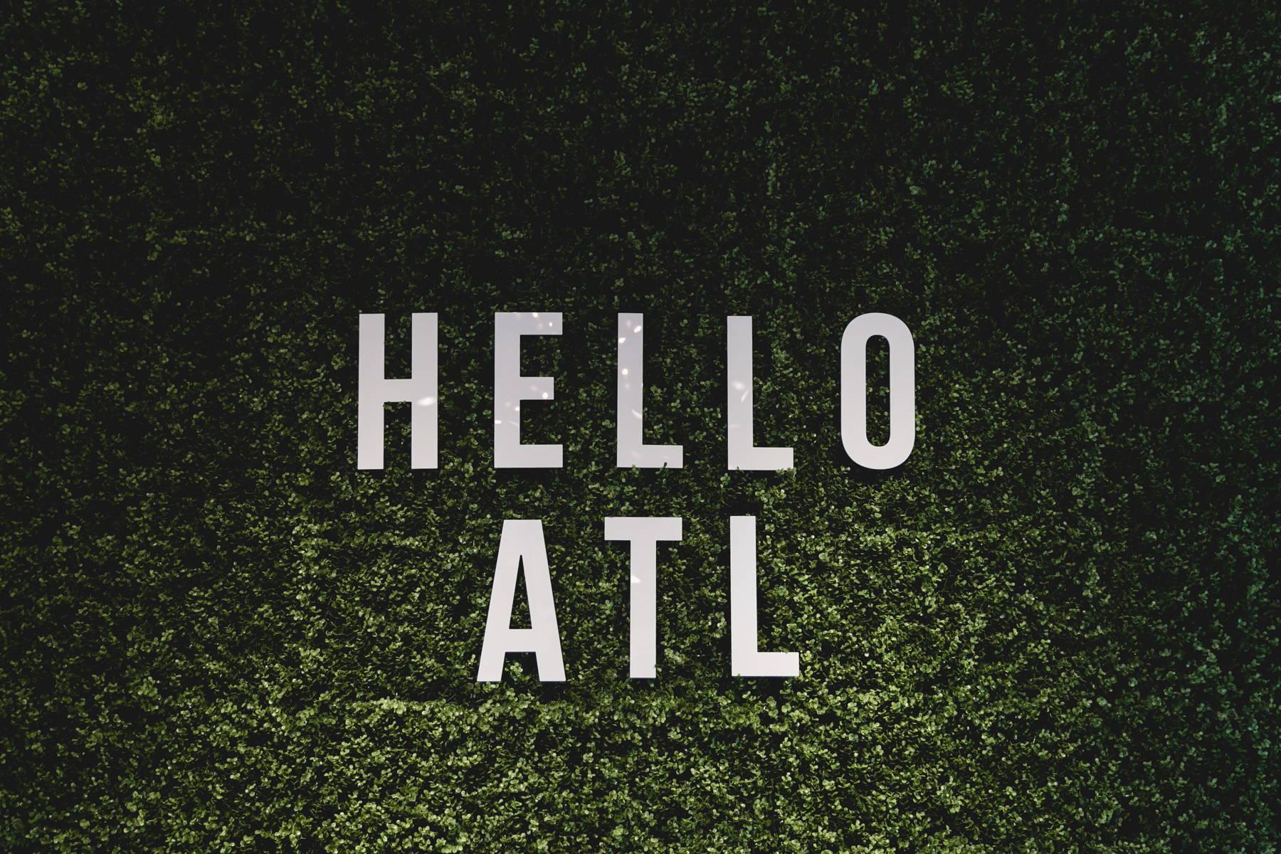 Hello ATL sign at Dress Up at The Battery