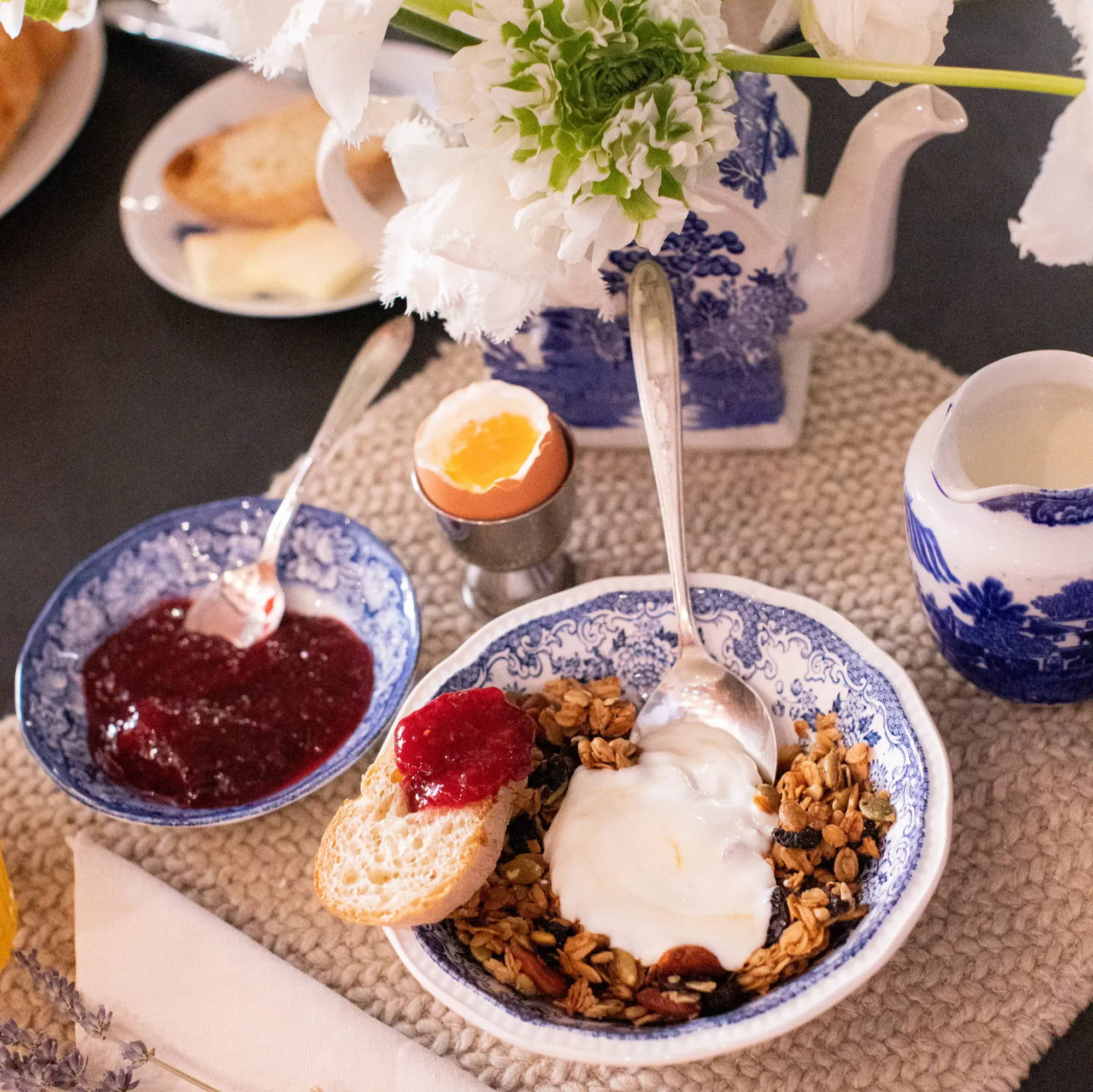 cereal bowl and berry bowl for blue and white breakfast scene