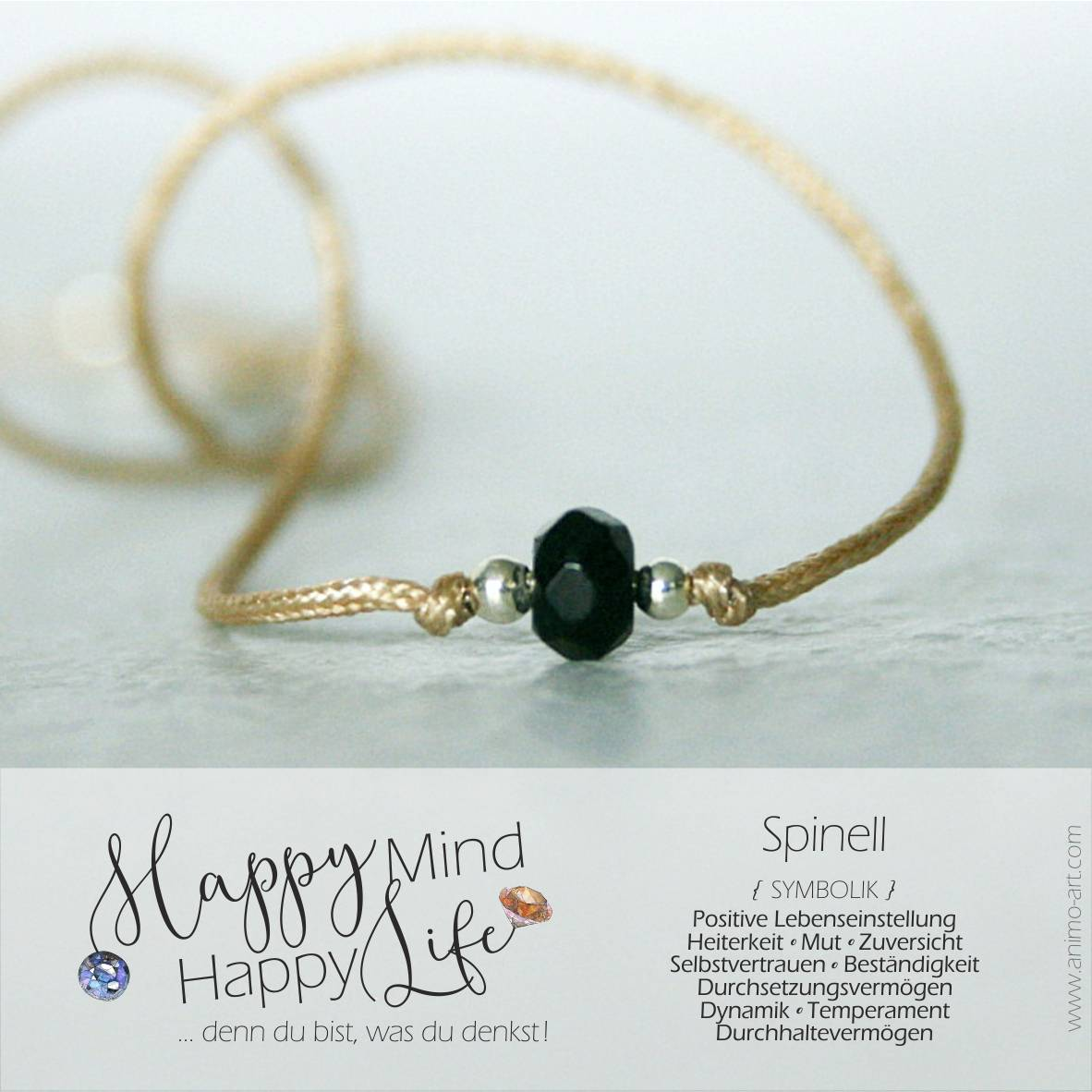 Armband mit Spinell-Bedeutung, Perle in schwarz, Happy Mind Happy Life