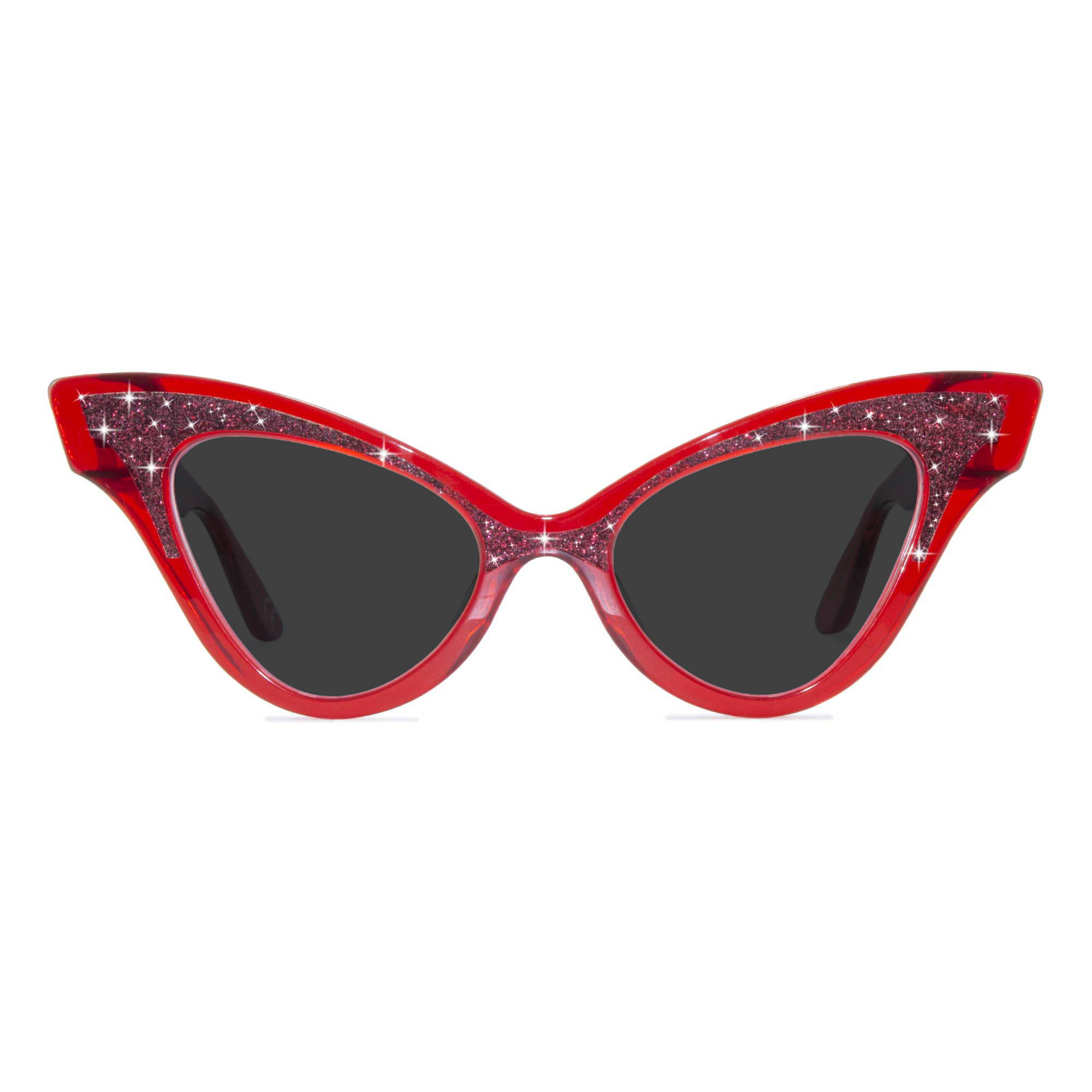 Joiuss glimmer clear red cat eye sunglasses