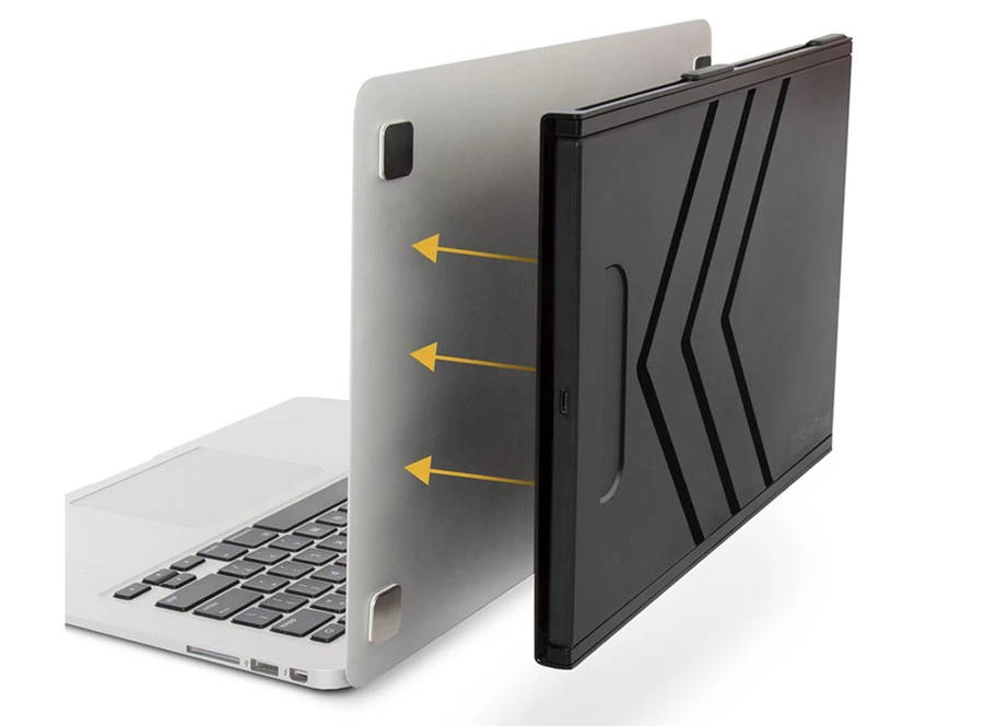SideTrack monitor attaching to the back of a laptop with metal plates