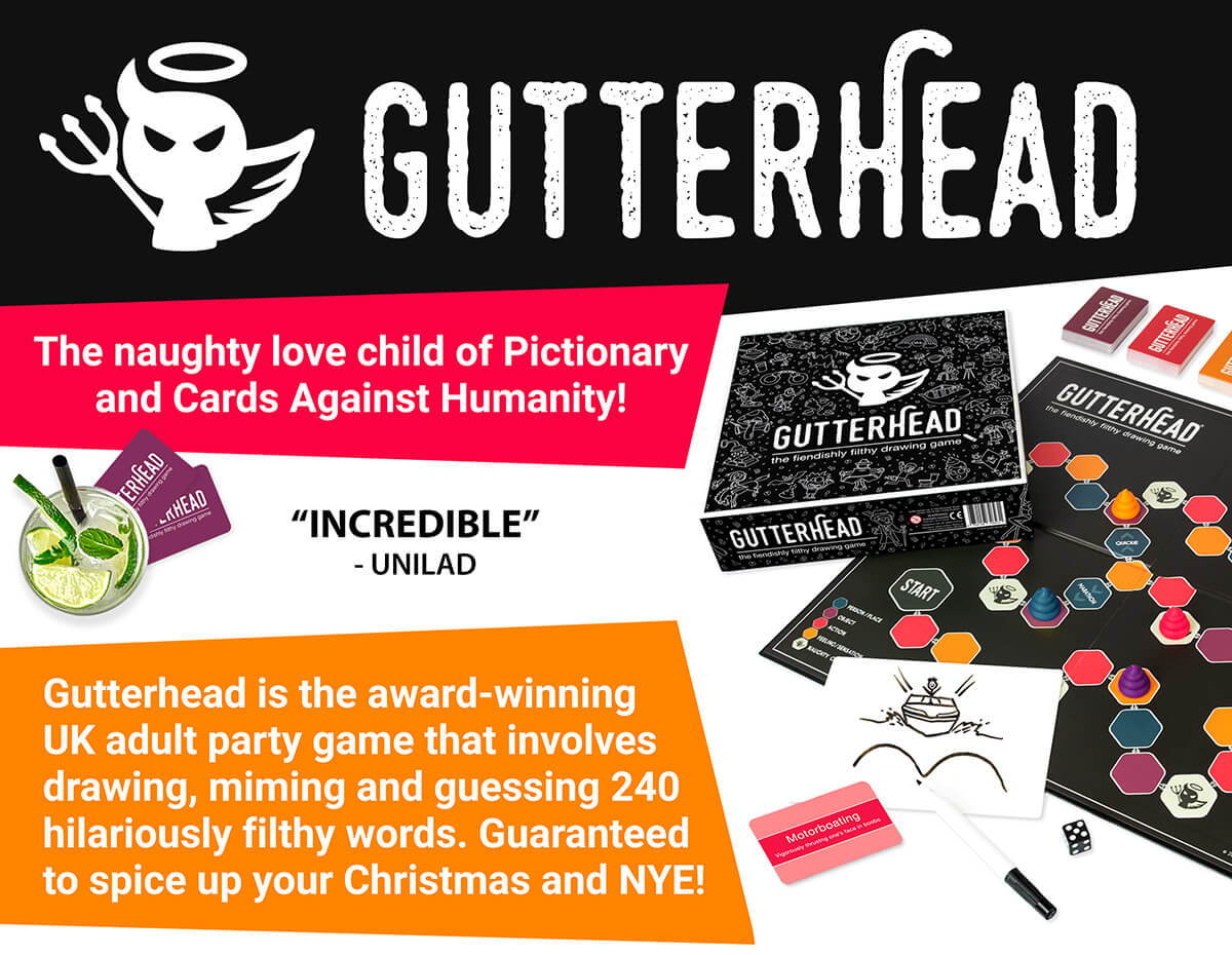 Gutterhead adult party game. Cards Against Humanity meets Pictionary