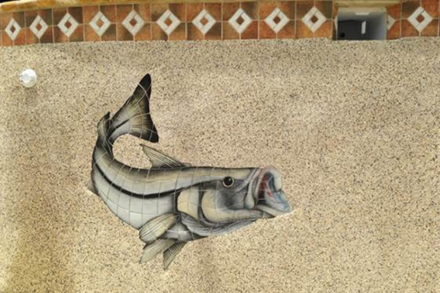 traditional hand-painted ceramic custom mosaic - snook