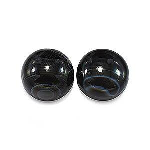 2 pierres d'onyx noir rondes