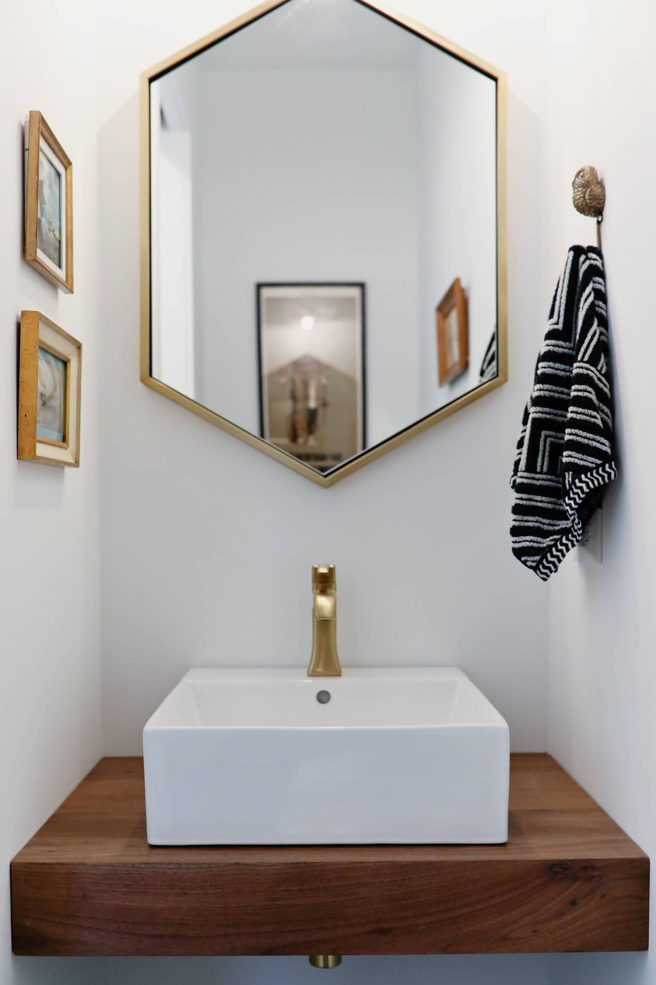floating walnut bathroom vanity