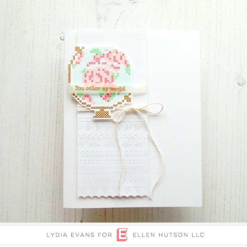 Stitched Together floral globe card by Lydia Evans