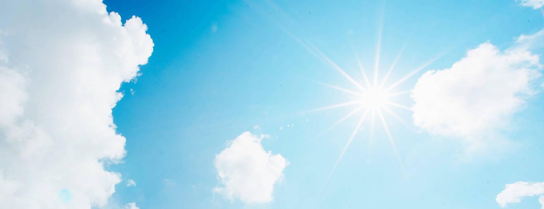 Blue sky with sun shining