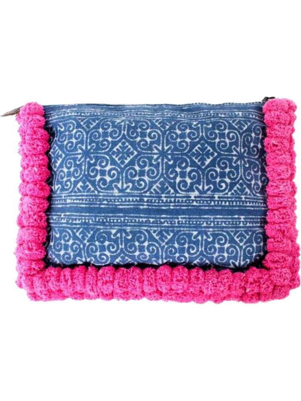 Batik Oversized Clutch with Pink Pom poms