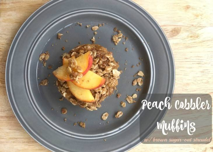 Infused Peach Cobbler Muffins