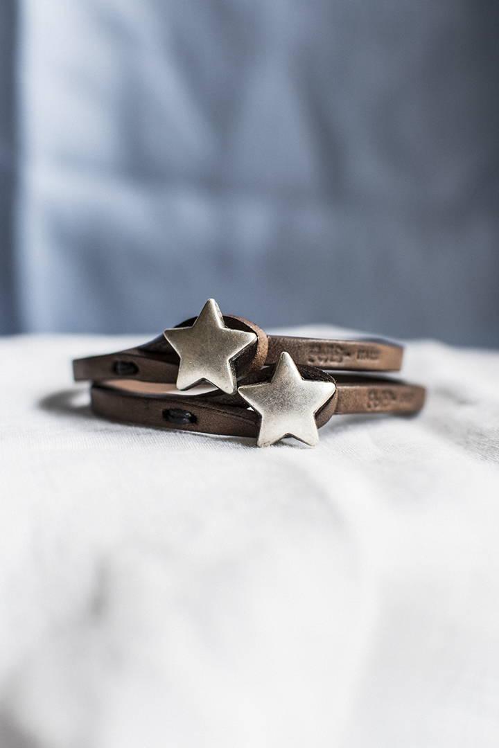 Bracciali pelle Tulsi Ginger 09 con chiusura a stella in colore argento - Pelle colore marrone