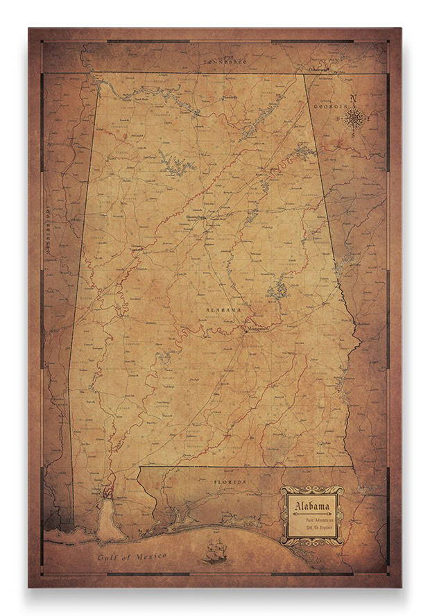Alabama Push pin travel map golden aged
