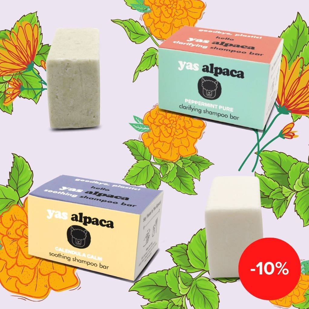 Yas Alpaca Peppermint Pure and Calendula Calm shampoo bar featured with unpackaged green and white bars